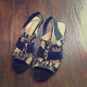 Black strappy sandal wedges by Ellen Tracy